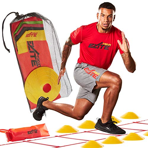 Train Elite Speed and Agility Ladder and Cones Workout Fitness Training Equipment Exercise ladders for Soccer Basketball Football for Youth Kids Athletic Adults Includes Workout Program ebook