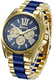 Fanmis Roman Numeral Gold Plated Metal Nylon Link Analog Disply Watch - Blue