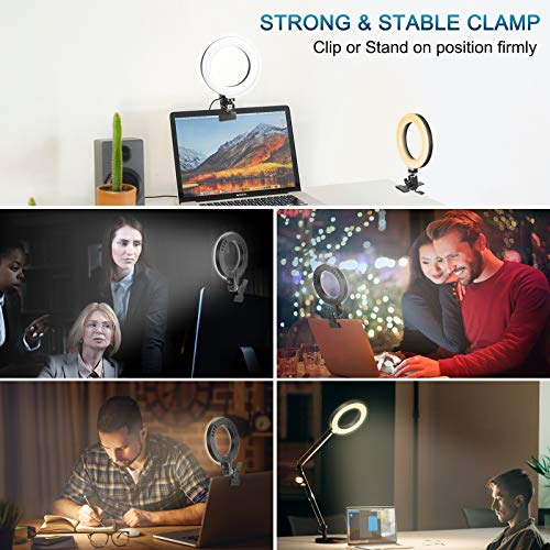 Selfie Ring Light for Laptop Monitor Computer Clip On, Video Conferencing Light with Clamp Mount for Zoom Call/Zoom Lighting/Remote Working/Self Broadcasting/Live Streaming