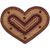 Heart Shaped Woven Jute Rug With Appliqué Stars Wine Red Tan Country Primitive Décor