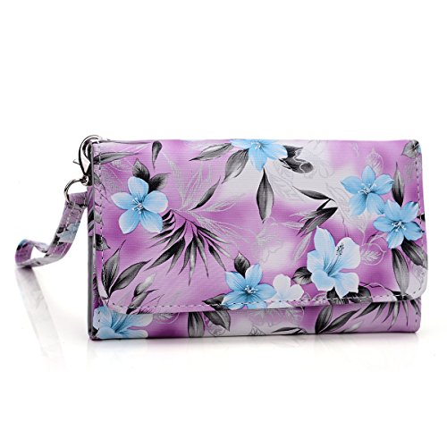 Kroo Clutch Wristlet Wallet Case for Smartphones up to 5.1 Inches - Non-Retail Packaging - Purple