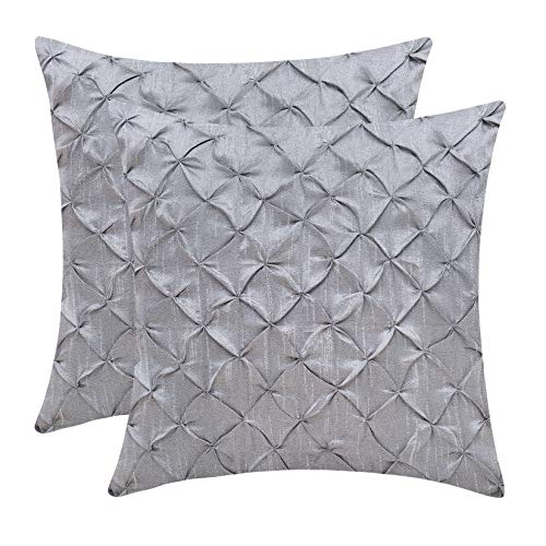 The White Petals Silver Gray Throw Pillow Covers (Faux Silk, Pinch Pleat, 18x18 inch, Pack of 2) ()
