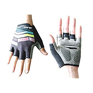 Mountain Made Belford Fingerless Cycling Gloves with Gel Pad (Black, Medium)