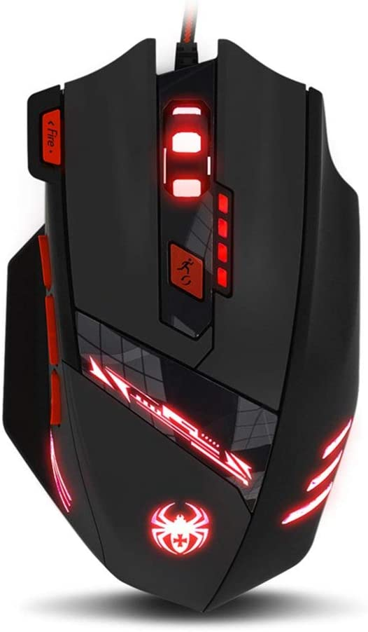 Zelotes T90 Gaming Mouse Wired 9200 DPI Breathing Light Weight Tuning Set High Precision USB Computer Mice, 8 Buttons for Desktop Laptop PC Mac Gamer, Black.