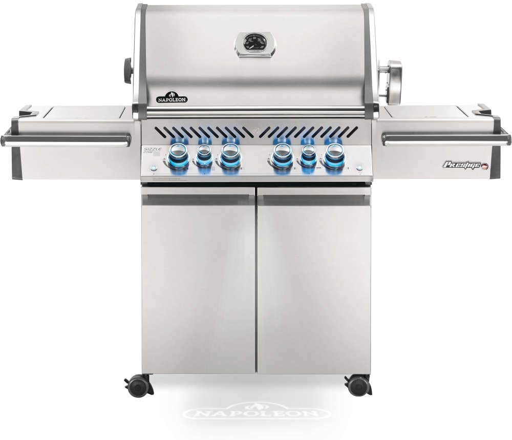 Napoleon Prestige PRO 500 BBQ Grill, Stainless Steel, Natural Gas - PRO500RSIBNSS-3 With Infrared Rear And Side Burner, Premium Barbecue Gas Cart For Grilling Masters - Rotisserie Included