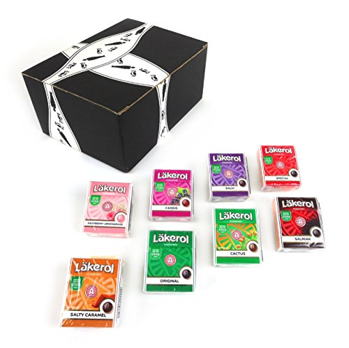 Läkerol Sugarfree Pastilles 8-Flavor Variety: One 0.8 oz Package Each in a BlackTie Box (8 Items Total)