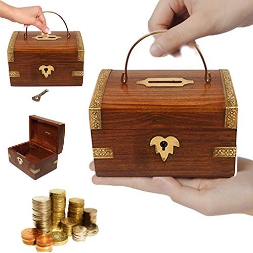Handmade 5 Inch Wooden Money Box with Handle & Key Lock, Piggy Bank, Brown Color Safe Storage Coin Box for Kids and Adults by WHOPPER