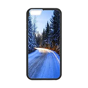 {Road & Highway Series} IPhone 6 Plus Case Winter Road Day Light, Case Dustin - Black