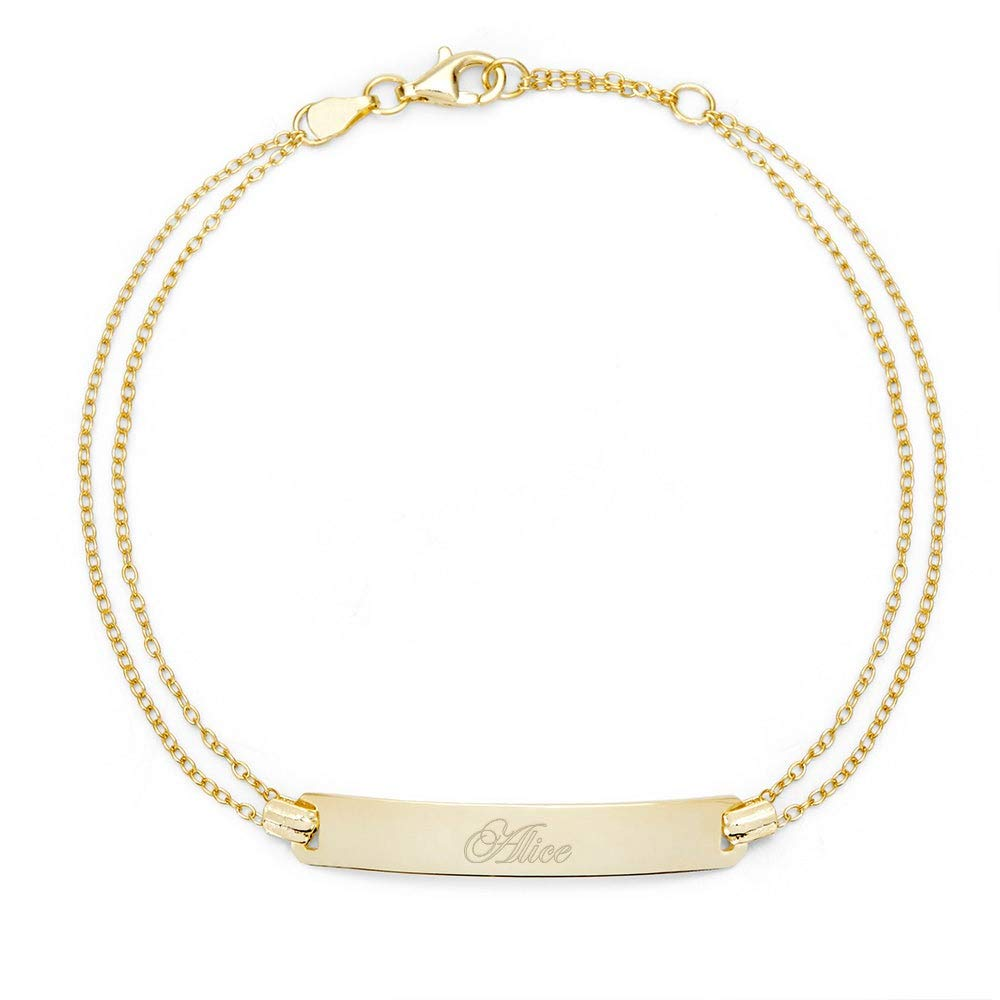 Engravable Gold PLated Name Bar Bracelet, 7.5 inches by Eve's Addiction