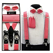 Formal Coral & White Paisley Convertible Suspenders Pre-tied Bow Tie & Hanky Set