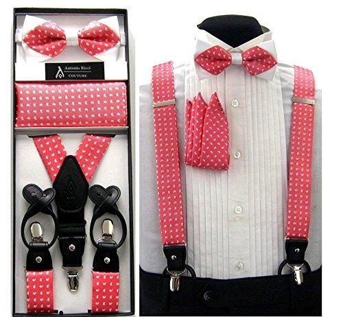 Formal Coral & White Paisley Convertible Suspenders Pre-tied Bow Tie & Hanky Set by Antonio Ricci