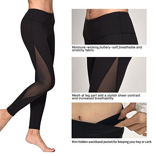 OngaSoft Womens Mesh Workout Leggings Yoga Pants W Waist Hidden Pocket(Black,L)