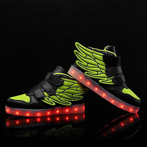 Dear-queen 7 Colori Led Light-up Ragazzi Ragazze Scarpe Sportive Sneakers Per Natale Halloween Verde