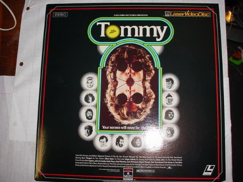 Laser Disc, Laserdisc of The Rock Opera TOMMY THE MOVIE By The WHO with Ann MArgret, Oliver Reed, Roger Daltrey, Elton John, Eric Clapton, John Entwistle, Keith Moon, Jack Nicholson and Pete Townshend. from Laserdisc not DVD or VHS.  Must have a laserdisc player to use.  A laserdisc is the size of an LP record,  almost 12 inches in diameter.