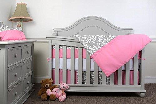 Simon's Baby House 100% Cotton 7 piece Crib bedding set (Pink and Gray)