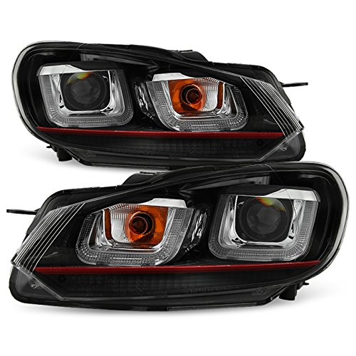 For 10-14 VW GOLF GTI [Red Stripe Dual U-Halo] LED Tube Black Bazel Projector Headlight Pair - Golf Dual Halo Projector Headlights