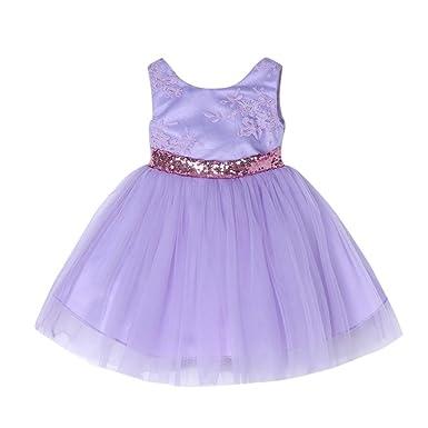 c92da73bbfea Kobay Baby Princess Dress Summer Fashion Children Kid Infant Girls Bowknot  Zip Embroidery Bling Floral Princess Tutu Dress  Amazon.co.uk  Clothing