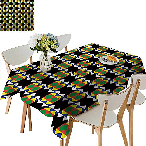 (Kente Pattern Outdoor Tablecloth,South African Ethnic Zulu Design with Triangle Details Funky and Primitive Decorative Washable Picnic Table Cloth,73W x 112L Inches Multicolor)