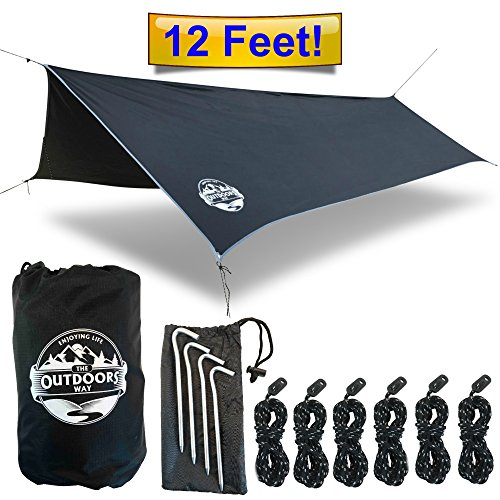 Hammock Tarp By The Outdoors Way. 12′ Quality Rain Fly For Extreme Waterproof Protection, Large Canopy Is Portable And Provides Ideal Shelter For Your Camping Hammock Or Tent. Performance Delivered!