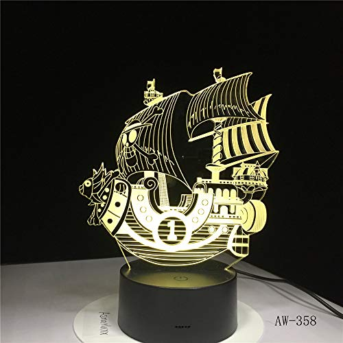 Zylxyd 3D Night Lighttouch Gift The Pirates Boat Led Acrylic 7 Color Changing USB Table Lamp Illusion Baby Sleeping Lamp