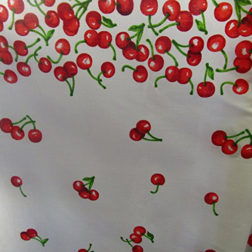 Border Cotton Fabric (Poly Cotton Print Fruits 60 Inch Fabric by the Yard (F.E. (Border Bunch Cherries White))