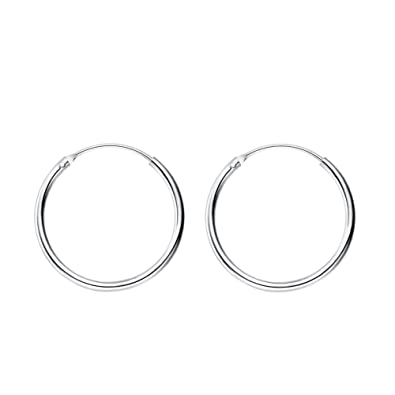 334976dbb Amazon.com: Thin Endless Hoop Earrings 14mm 16mm 18mm 20mm (14mm): Jewelry