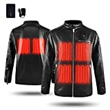 CLIMIX Mens Heated Jacket PU Leather Jacket Kits With Battery Motocycle Biker(XXL)