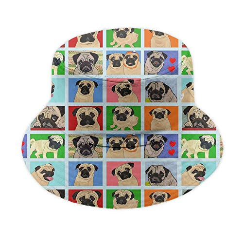 (Great Gift - Unisex 100% Polyester Wide Brim Pug Cute Pattern Bucket Hat UPF 50+ Sun Protection Packable Fisherman Hat Summer Beach Cap for Travel Golf Fishing Camping)