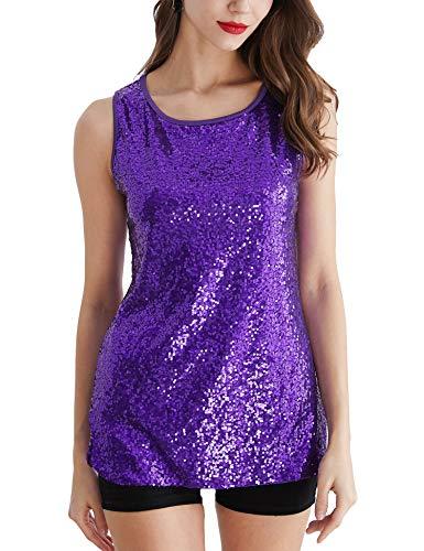 Uhapy Women's Glitter Sequin Tank Top Sparkle Shimmer Camisole Vest T-Shirt Purple, 4X-Large