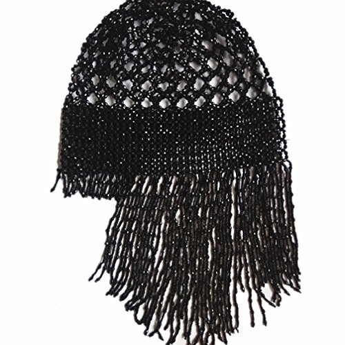 DEMON BABY 2019 Handmade Beaded Hat Pub/DJ Hair Accessory Egyptian Cleopatra Belly Dance Beaded Cap Wig Headpiece(Black) ()