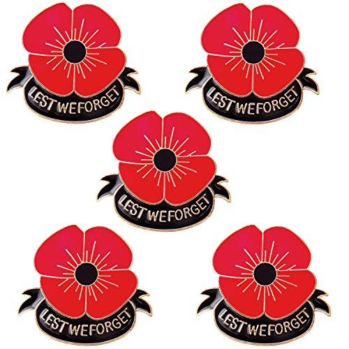 JLJ Poppy Brooch Pins Lest We Forget Veterans Day Memorial Day Remembrance Day(5pcsBlack)