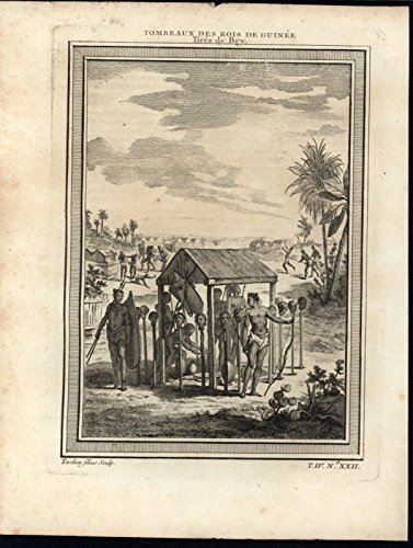 (Tomb King of Guinea Severed Heads Torture Scene c.1747 antique engraved print)