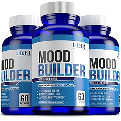 Mood Builder - Premium Mood Support Supplement | Superior Efficiency Natural Stress Relief | Vegan Dietary Herbal Calming Capsules for Men & Women | Boosts Relaxation & Overall Well being