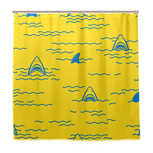 ZOMOY Decoration Shower Curtain Shower Shark Fin Dolphin Ocean Sea Seamless Bath Curtains Waterproof Fabric Bathroom Decor Set with Hooks 47X64inch (Difference Between Shark Fin And Dolphin Fin)