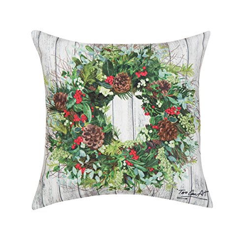 C&F Home Christmas Wreath Christmas Holiday Xmas Winter Lodge Cabin Handcrafted HD Indoor/Outdoor Decorative Throw Pillow 18 x 18 Green Wreath Christmas Wreath