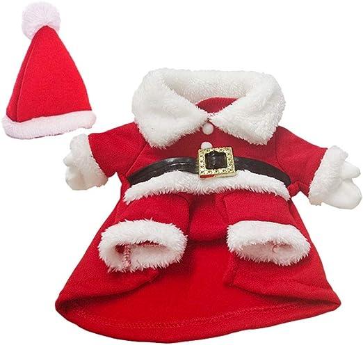 Oferta amazon: Toyvian Disfraz de Papá Noel para Perro, Gato, Ropa navideña, Traje de Santa, Abrigo de Invierno con Talla de Sombrero S (Rojo Blanco).