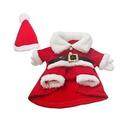 Toyvian Disfraz Navidad Perro Pequeño Disfraz Papa Noel Perro con Sombrero Navidad Ropa Traje Invierno Cálido para Perro Gato Rojo Blanco