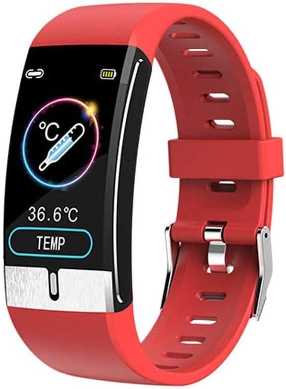 QXbecky Reloj Inteligente La última Pulsera Inteligente Monitor de Temperatura Corporal frecuencia cardíaca presión Arterial Salud Reloj Inteligente a Prueba de Agua Reloj Bluetooth Rojo