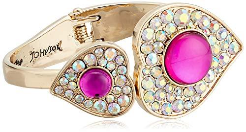 Betsey Johnson Women's Heart Hinged Bangle Bracelet, Pink, One Size
