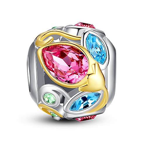 Glamulet Art - and Gold Bud Openwork Large Charm -- 925 Sterling Silver -- Fits Pandora Bracelet