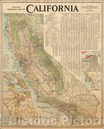 - Historic Map | Official Railroad Map of California Issued, 1915, Railroad Commission of the State of California | Vintage Wall Art 44in x 55in