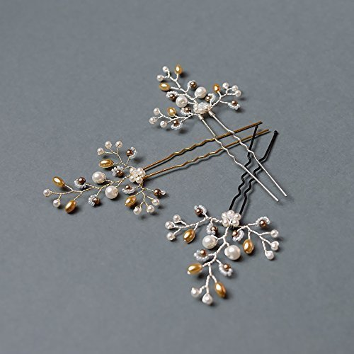 Bridal hair pins with white and gold round and rice glass beads, white seed beads.