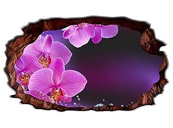3d Wandtattoo Orchidee Blume Lila Rosa Wasser Bild Selbstklebend