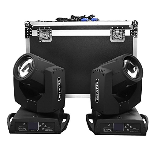 TC-Home 2Pcs 5R Zoom 200W Stage Light Beam 16 Channels Moving Head Light Gobo Dimmable Beam Spot stage Light w/Flight Case for Disco Bar Show