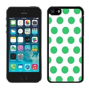 MMZ DIY PHONE CASEBINGO cheap price Polka Dot White and Green ipod touch 5 Case Balck Cover