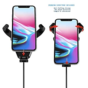 QI Wireless Car Charger Mount - COOIEPA Fast Best Qi Car Wireless Charger Cell Phone Mount Air Vent Dash Holder for Samsung Galaxy Note 8/ S8/ S8+/ S7/ S6/ Edge+/ Note 5/ iPhone 8/ 8 Plus/ X (Black)