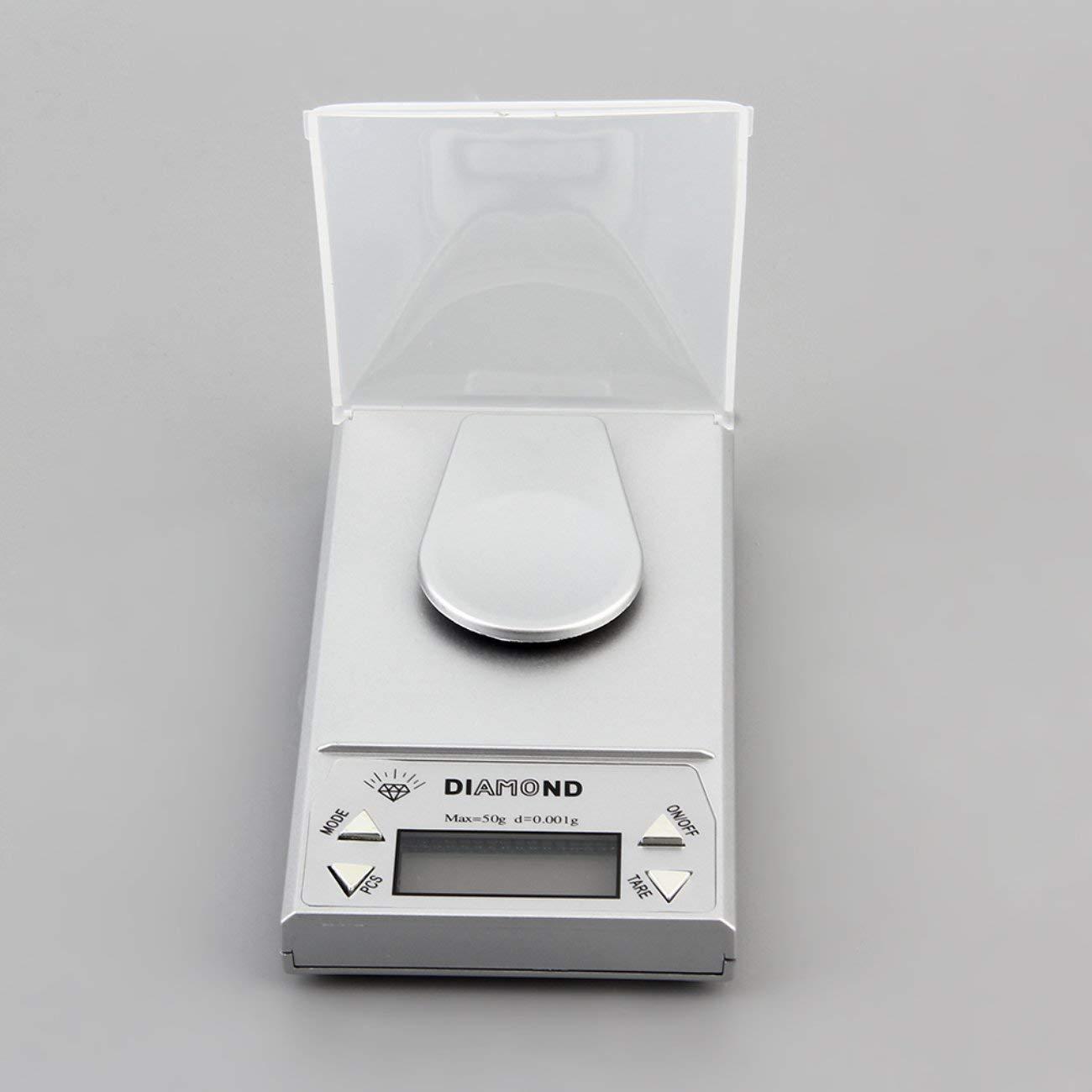 Gramo del peso de la balanza de la hierba del oro del laboratorio del oro del laboratorio de la escala de la joyería de 10/20 / 50G 0.001g LCD: Amazon.es: ...