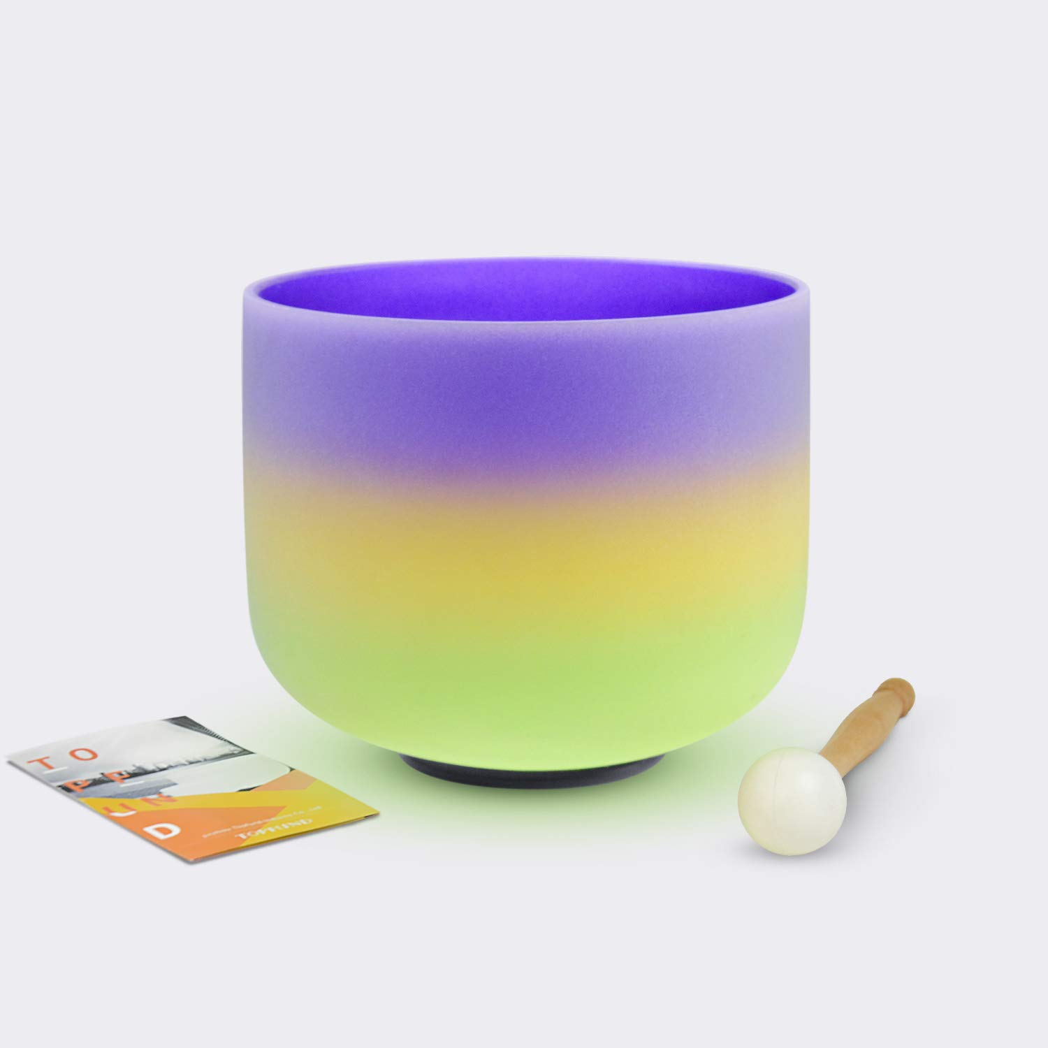 TOPFUND Crystal Singing Bowl B Note Crown Chakra Rainbow 6 inch (O-ring and Rubber Mallet Included)
