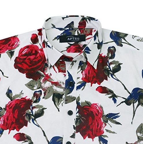 Casual Floreale Lunga Aptro Camicia Manica 100 A 1925 Cotone Uomo qBWnSWaf