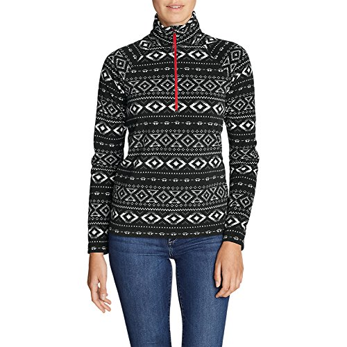 Eddie Bauer Women's Quest Fleece 1/4-Zip - Printed, Black Regular S